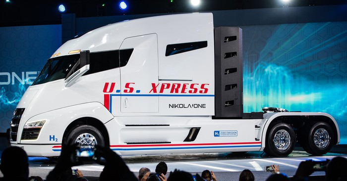 Nikola One semi truck bearing US Express logo.