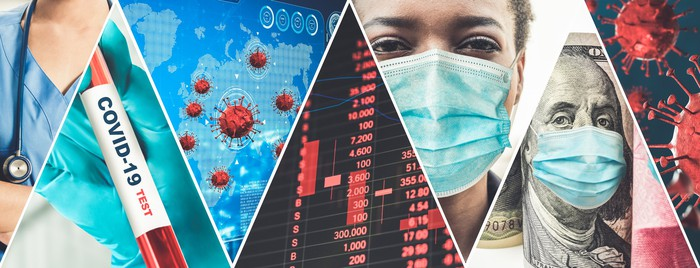 Five photo vignettes of the COVID-19 pandemic: medical professional with stethoscope, coronavirus cells, person with mask, Ben Franklin with mask.