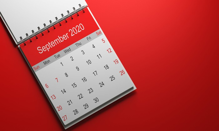 A calendar open up to page showing September 2020.