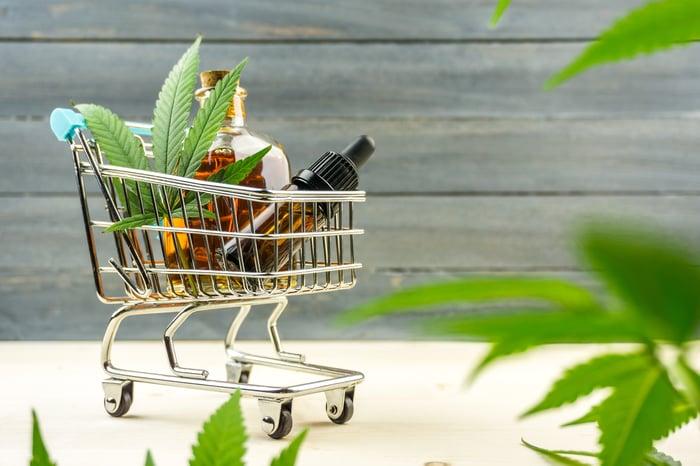 Marijuana products in a miniature shopping cart.