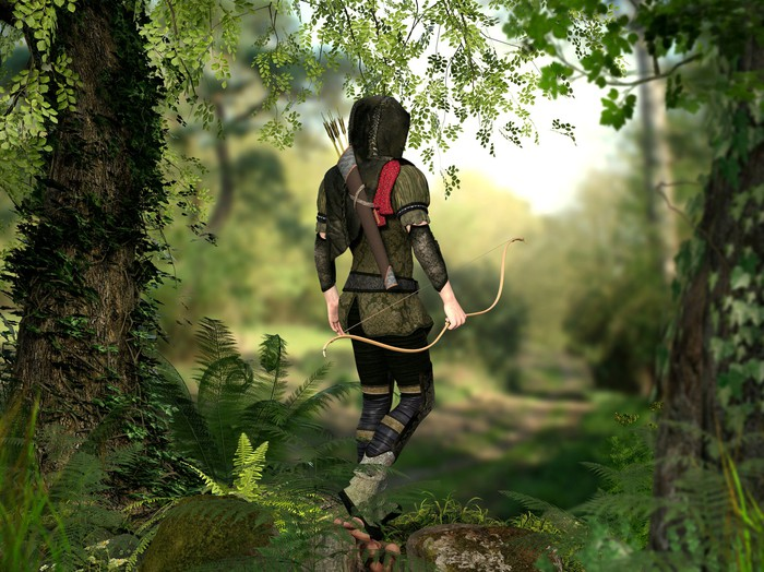 A hooded hunter with bow and arrows walks through a forest.