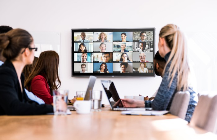 A Zoom video conference.
