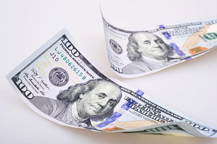 Two USD hundred dollar bills.