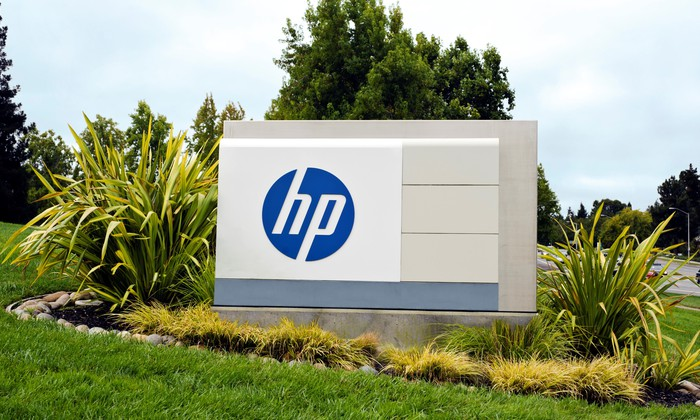 HP's sign at its campus.