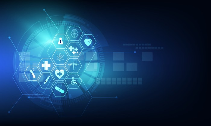 Digital icons for healthcare services.