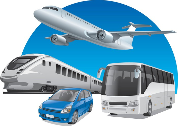 Transport options including planes, trains, autos, and buses.