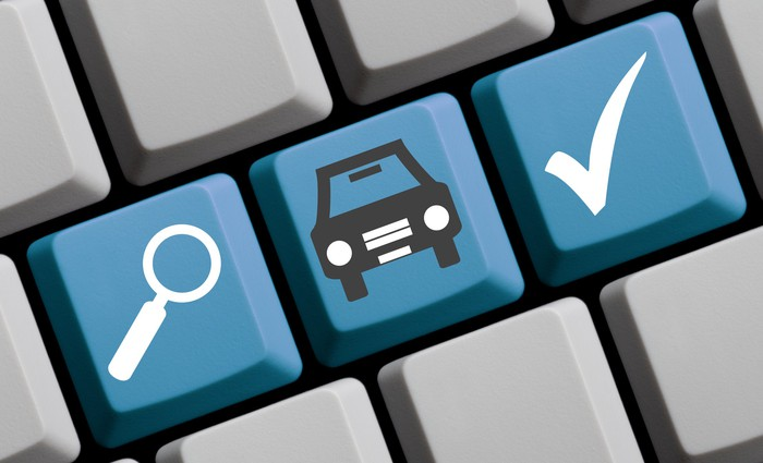 Keyboard showing a search and car key for online car buying.