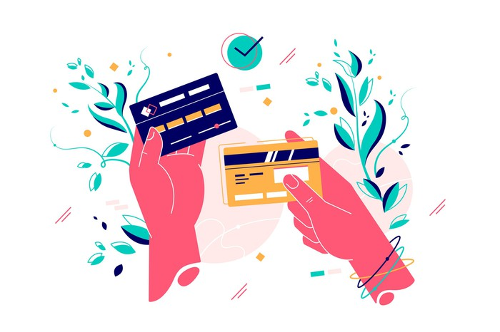 Two illustrated hands holding credit cards.
