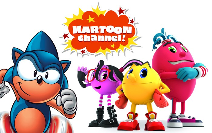 Animated Sonic the Hedgehog and Pac-Man characters