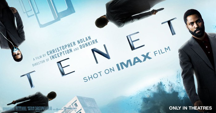 Promotional still of Tenet with the notice that it was shot on IMAX film.