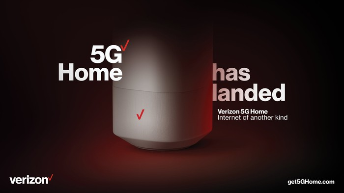 Verizon 5G Home router pictured with the wording 5G Home has landed.