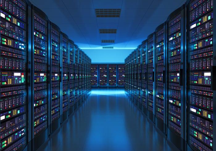 A dark server room.