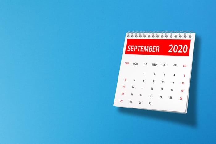 A calendar showing September 2020 set against a blue background.