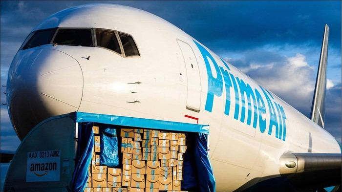 Amazon Prime Air plane being loaded with cargo