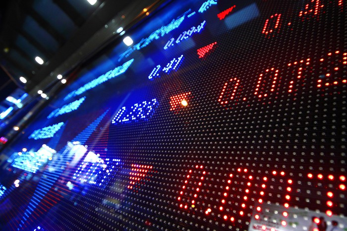 A digital stock ticker showing declining prices.