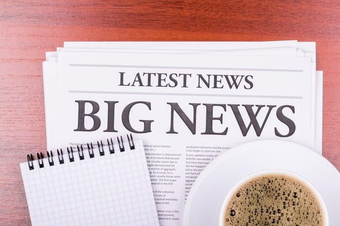 A newspaper with big news headline.
