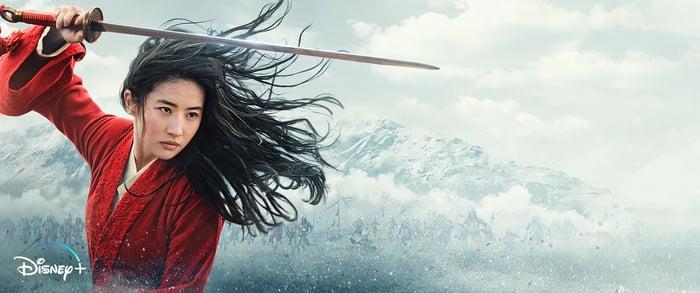 Mulan holding a sword