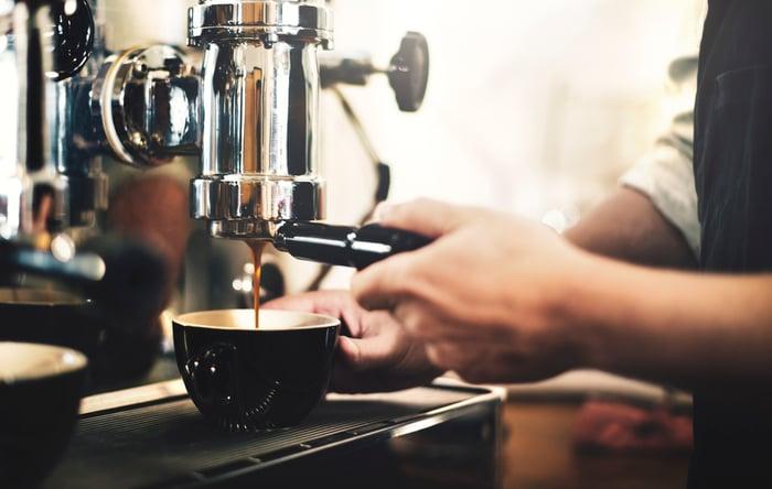 Barista making a cup of espresso.