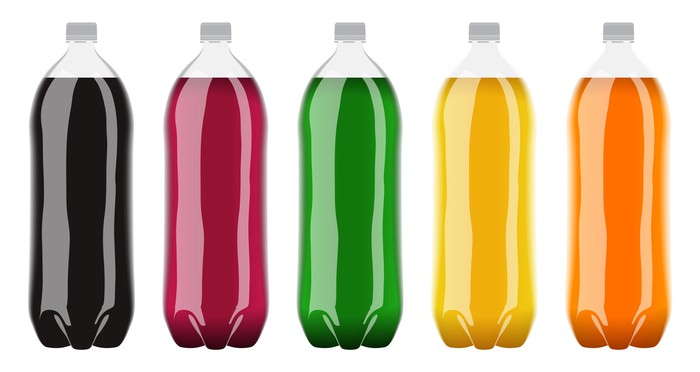 Multicolored bottled sodas.