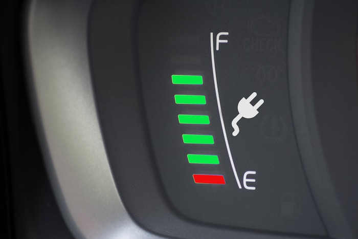 A gauge showing the charge in an electric vehicle.