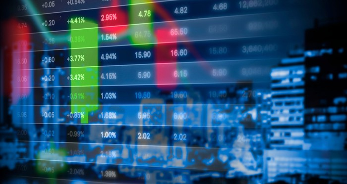 Stock market numbers go by on a board.