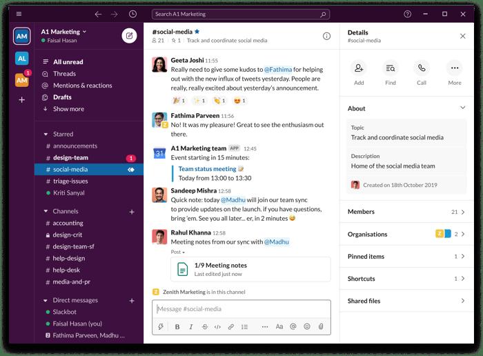 A screenshot of Slack's threaded message platform.