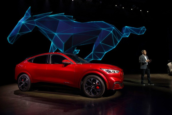 Ford's new electric Mustang unveiling.