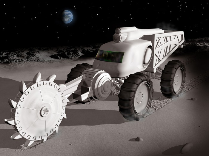 Space mining truck cutting into the moon