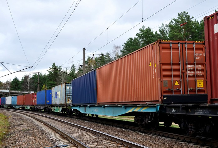 Intermodal containers on a flatbed train car