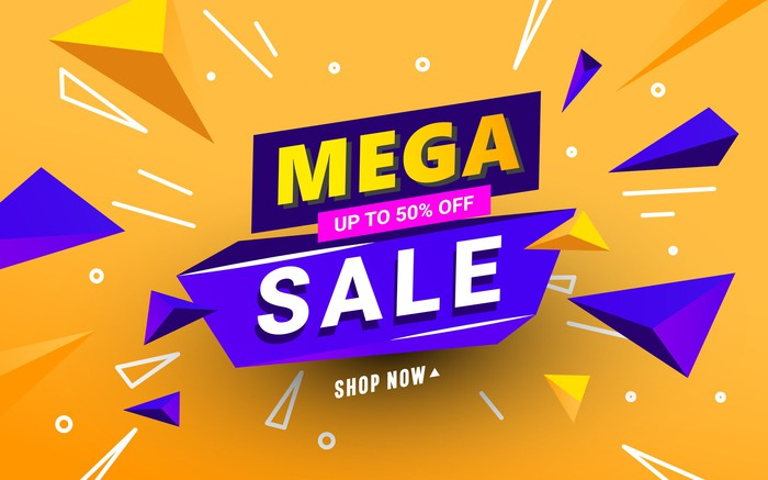 """The words """"mega sale"""" written in block letters in bright colors before a bright yellow backdrop."""