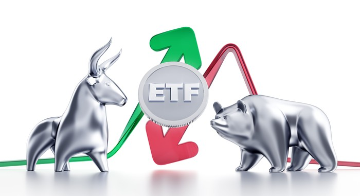 Bear and bull figurines with up and down arrows and ETF sign