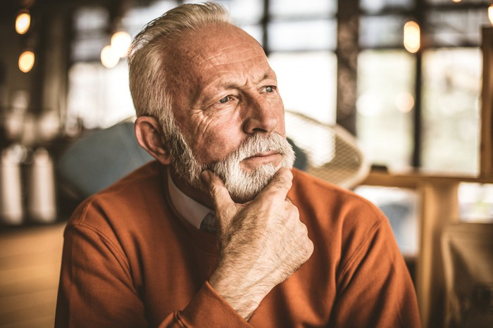 Closeup of older man with serious expression