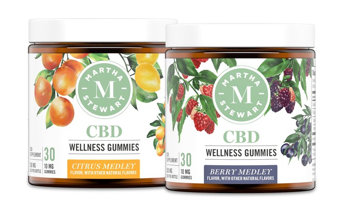 Two jars of Martha Stewart CBD gummies.