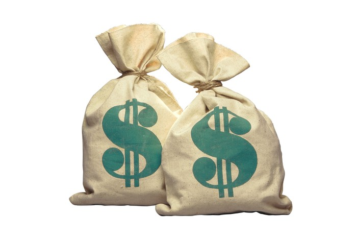 Two money bags with dollar signs printed on them.
