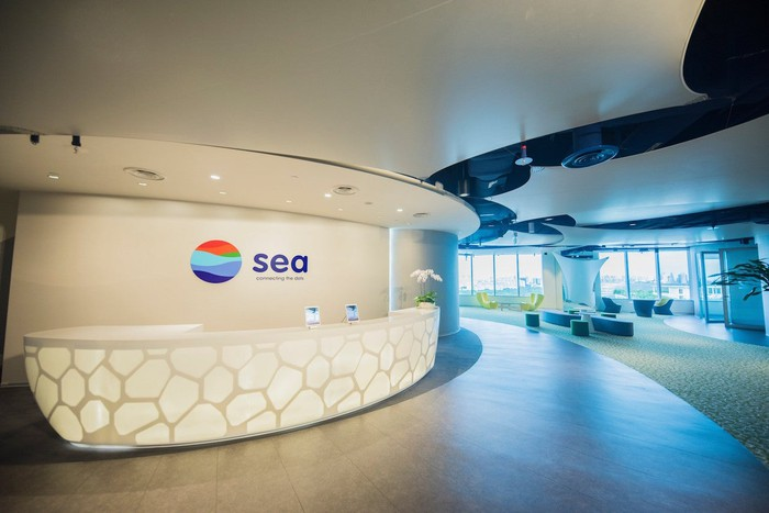 The reception desk at the Sea office.