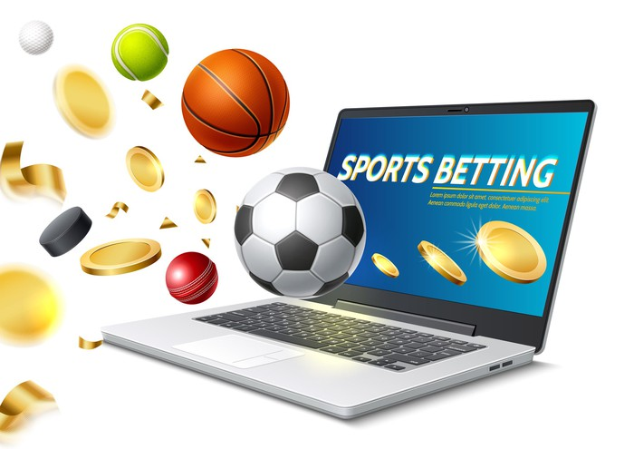 sports betting on a laptop screen with sports balls seeming to fly out of the screen