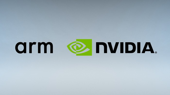 Both the ARM Holdings and NVIDIA logos side by side.