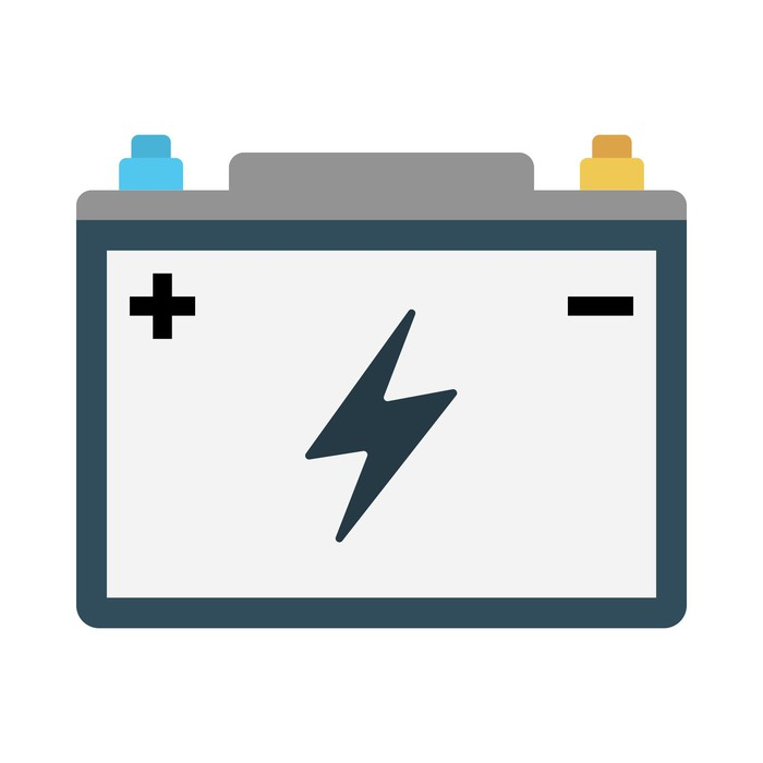 Stylized image of a battery with plus and minus signs and a lightning bolt