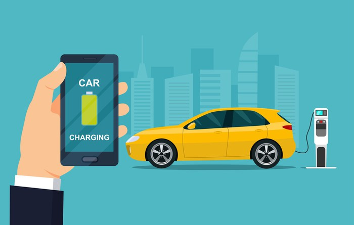 Cartoon of cell phone reading CAR CHARGING in foreground and an electric car plugged into a charging station in background.