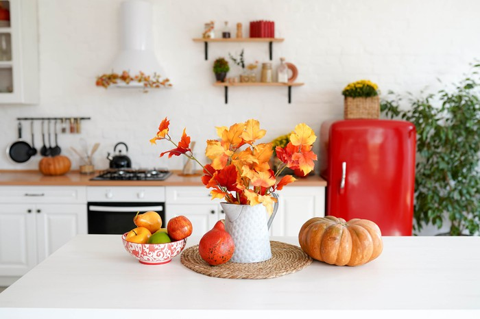 fall home furnishings on a kitchen table