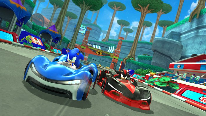 Characters driving cars in Sega's Sonic Racing on Apple Arcade