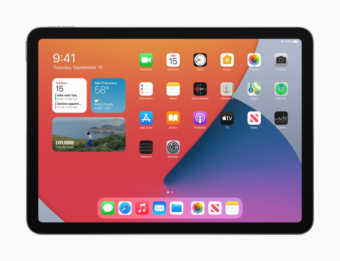 iPad Air 4 displaying a home screen with various app icons and the weather