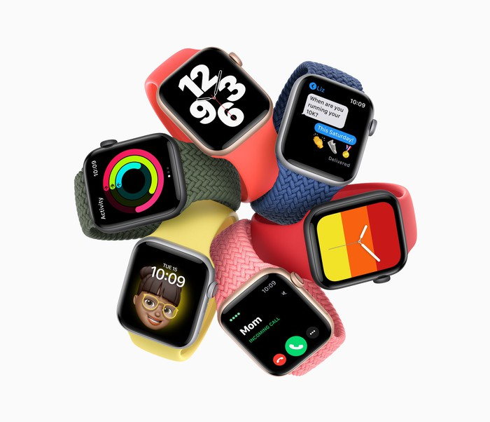 Six Apple Watches with different faces and bands arranged in a circle.