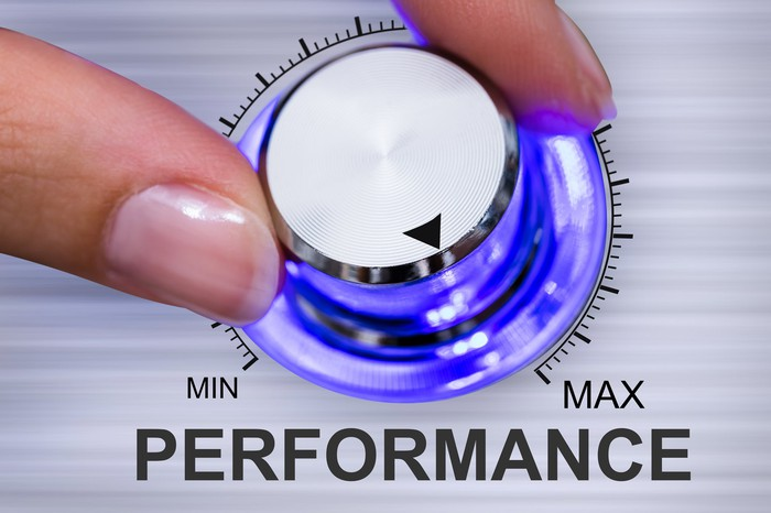 A woman's fingers are turning a knob labeled performance toward the max.