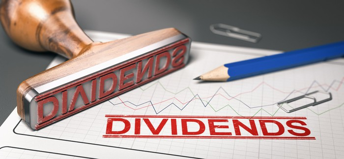 The word DIVIDENDS ink stamped onto a sheet of paper under a pencil and a paper clip.