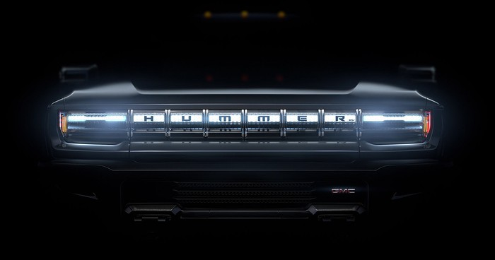 """A """"teaser"""" photo of the GMC Hummer's grille."""