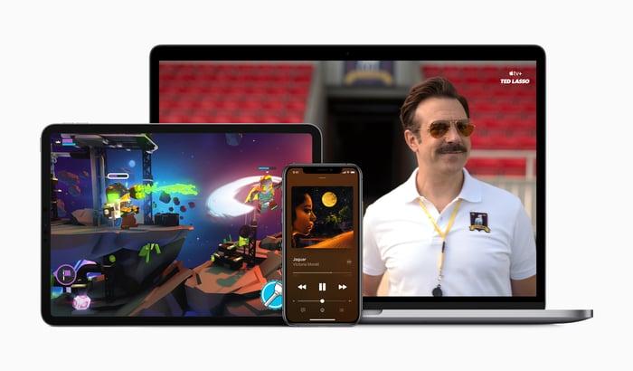 A MacBook displaying an Apple TV+ show, an iPhone displaying Apple Music, and an iPad displaying a game