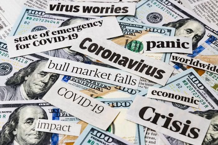 Coronavirus headlines on top of hundred dollar bills