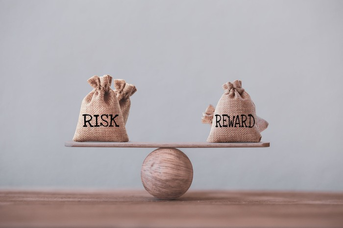 Bags labeled risk and reward balance on wood stick balanced on a ball