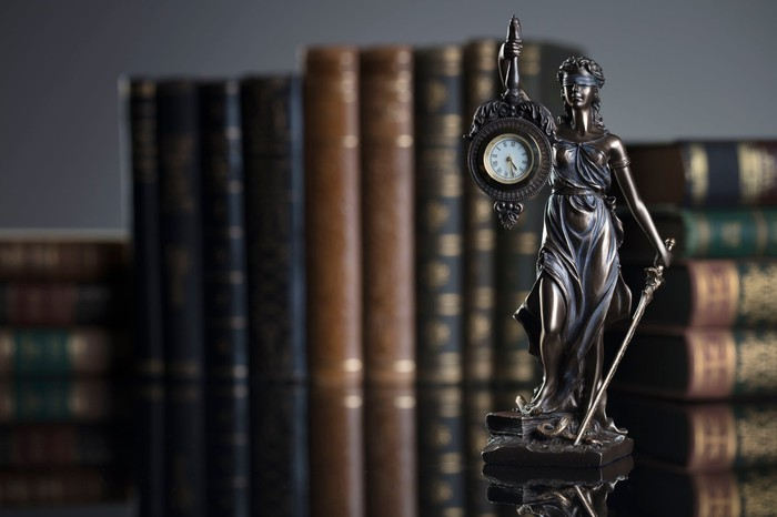 Statue of Justice holding a clock